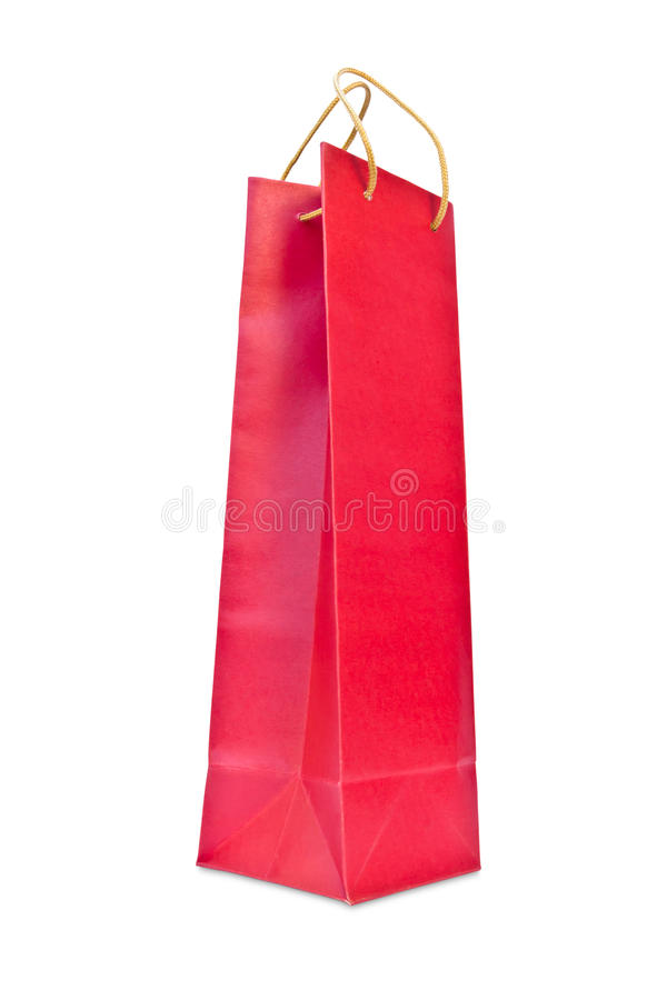 Wine red paper bag isolated. On white background stock photo