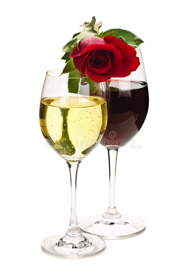 Wine With Red Rose Royalty Free Stock Photo