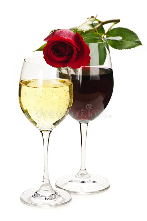 Download Wine with red rose stock photo. Image of long, drinks - 12779640