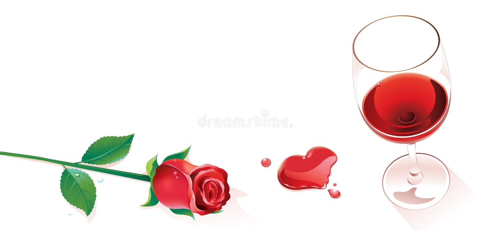 Wine and rose. Wine goblet and red rose beside royalty free illustration