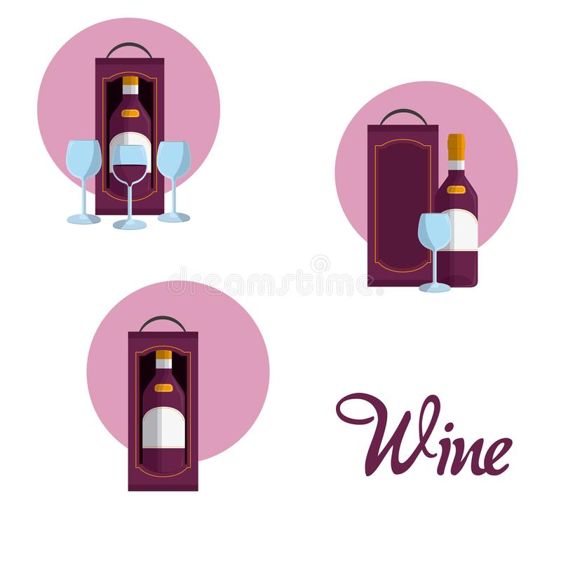 Wine round icons. Collection vector illustration graphic design royalty free illustration