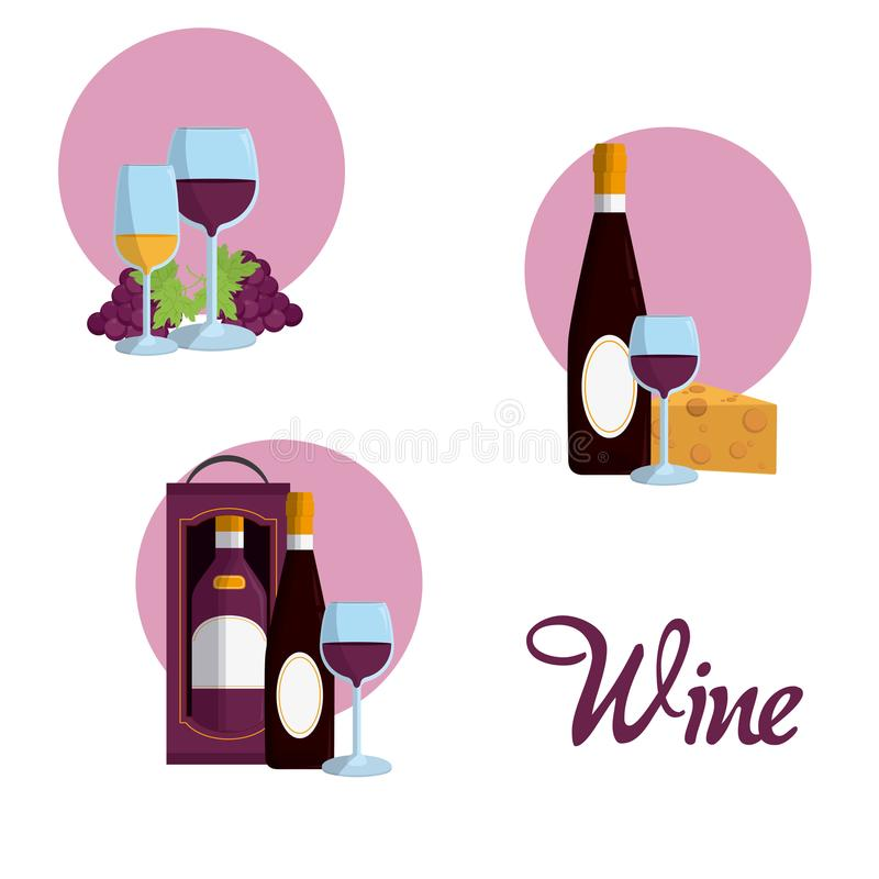 Wine round icons. Collection vector illustration graphic design vector illustration