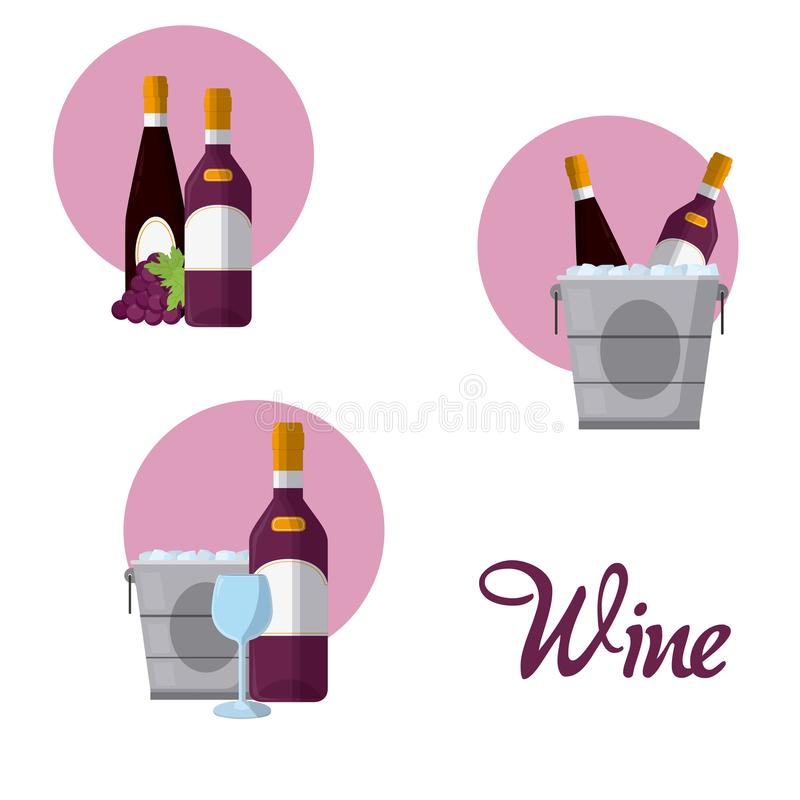 Wine round icons. Collection vector illustration graphic design stock illustration