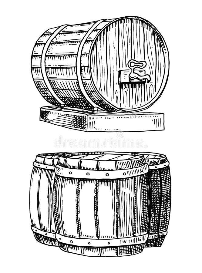 Wine or rum, beer classical wooden barrels for rural landscape with villa front and side view. engraved in ink hand royalty free illustration
