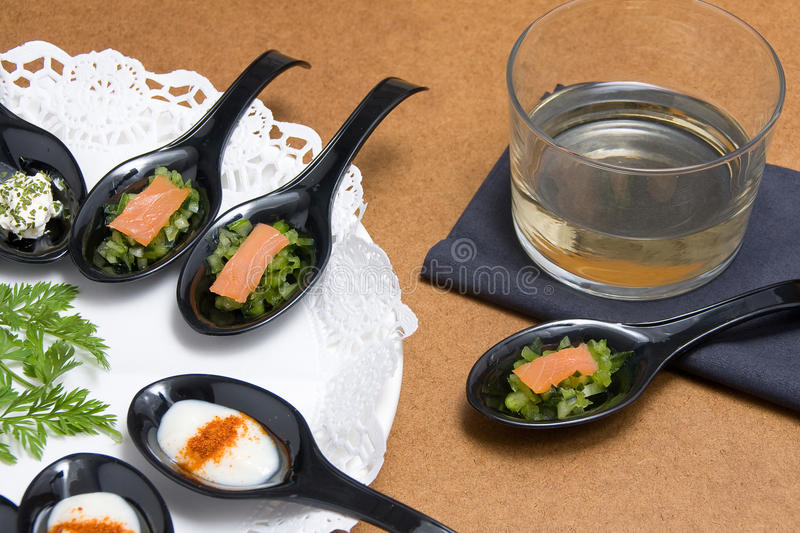 Download Wine with Salmon stock photo. Image of snacks, ingredient - 23384458