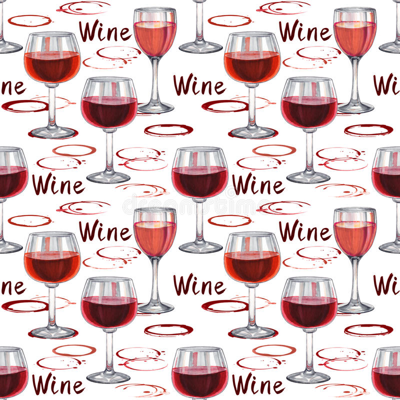 Wine seamless pattern. Hand-drawn pattern with wineglass vector illustration