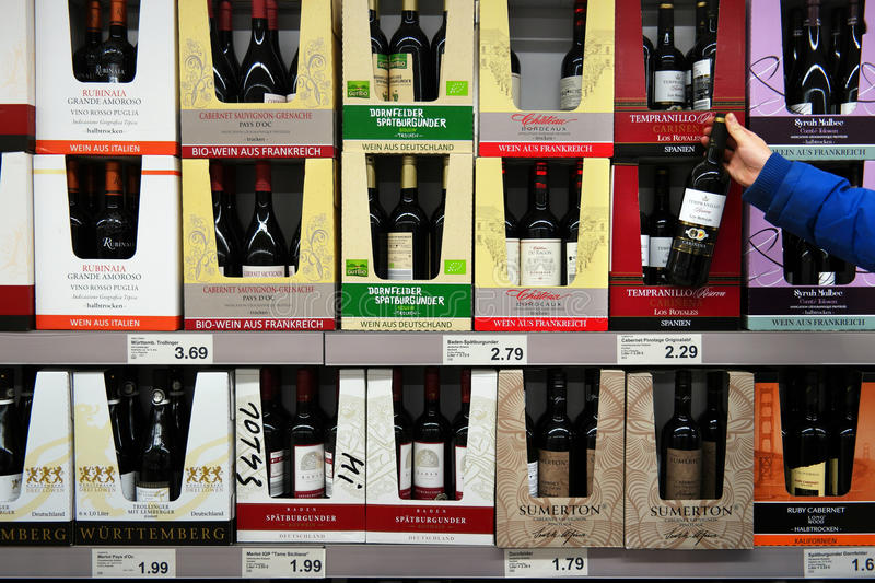Wine selling in Supermarket stock photo