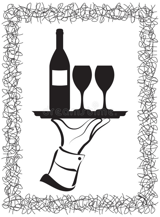 Download Wine Serving stock vector. Illustration of tray, wine - 21576556