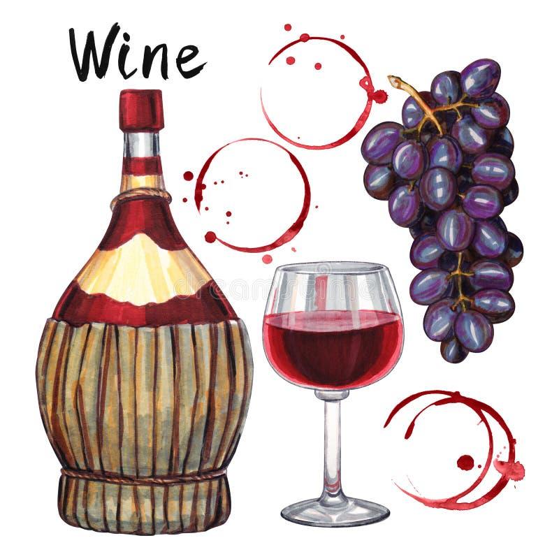 Wine set. Hand-drawn illustration of the wine bottle royalty free illustration