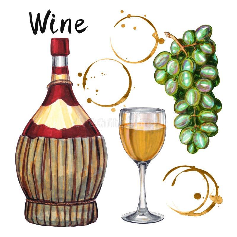 Wine set. Hand-drawn illustration of the wine bottle vector illustration