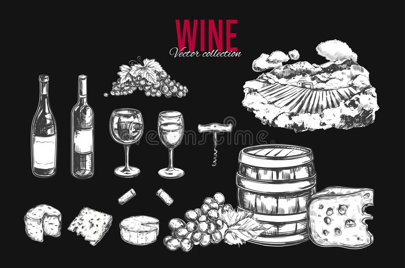 Wine set. Vector. Hand drawn elements including wine glass, bottle, grape, vineyard landscape, cheese, barrel with wine. Sketch style stock illustration