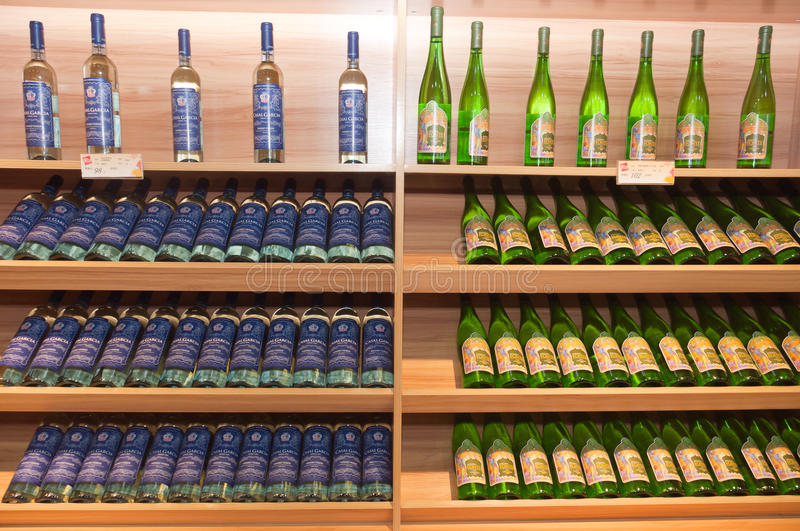 Download Wine shelves in shop editorial stock photo. Image of food - 26350043