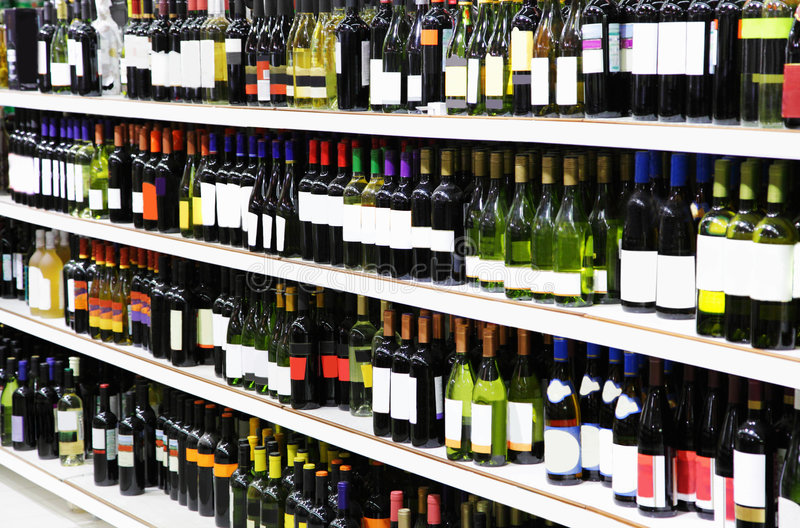 Wine shop stock photo