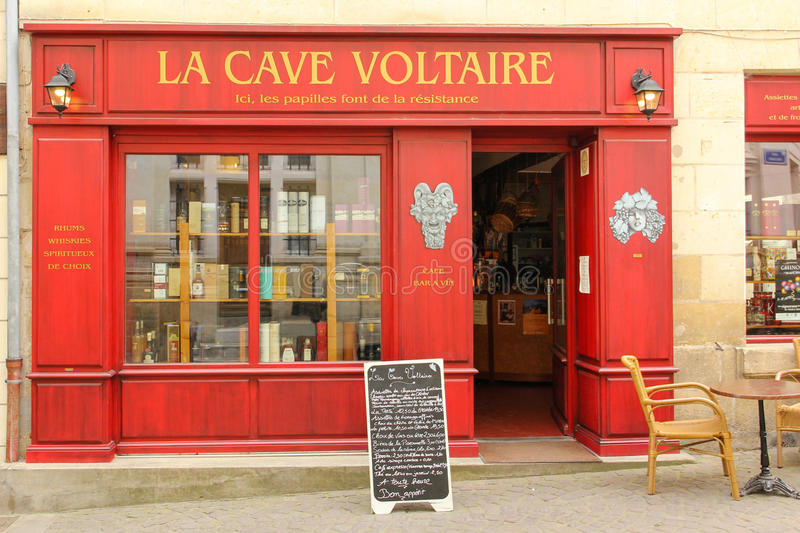 Wine shop La cave Voltaire. Chinon. France. Wine shop & restaurant La cave Voltaire. Chinon. France stock image