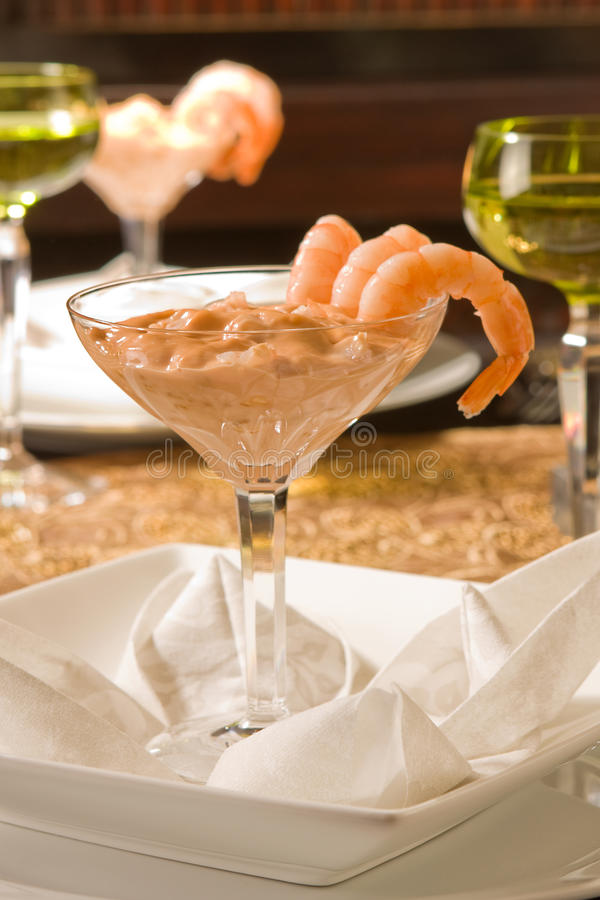 Wine and shrimps royalty free stock photo