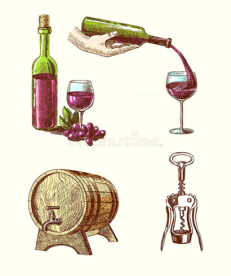 Wine sketch decorative set. Wine vintage hand drawn decorative icons set of corkscrew barrel bottle wine isolated vector illustration stock illustration