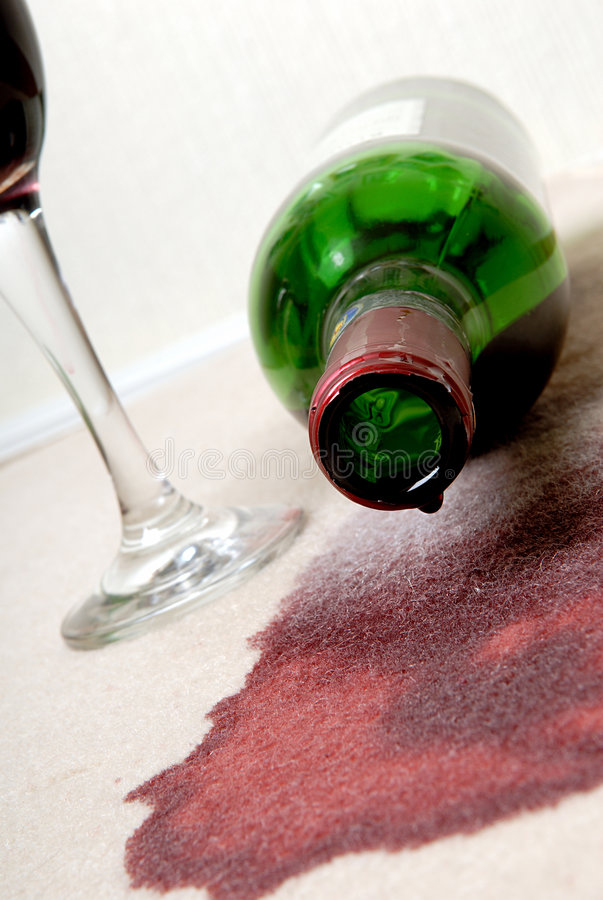 Wine spilt. stock photos
