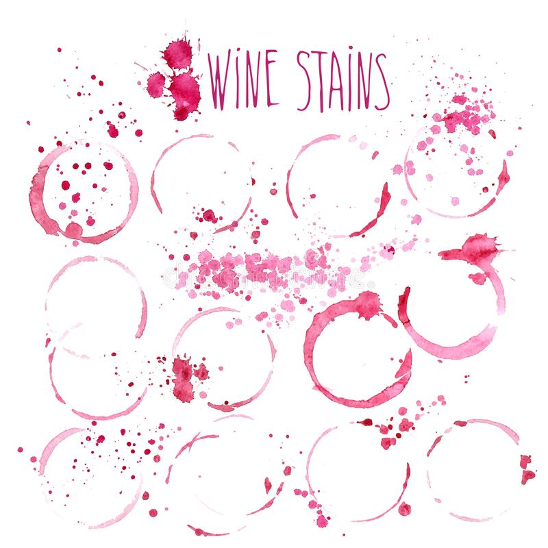 Wine stains vector watercolor illustration. Wine splashes and stains isolated on white background vector illustration