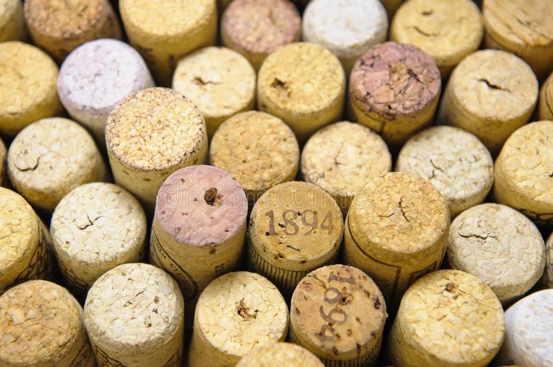 Wine Stoppers. A close-up of many different wine stoppers made of natural cork stacked together stock photo