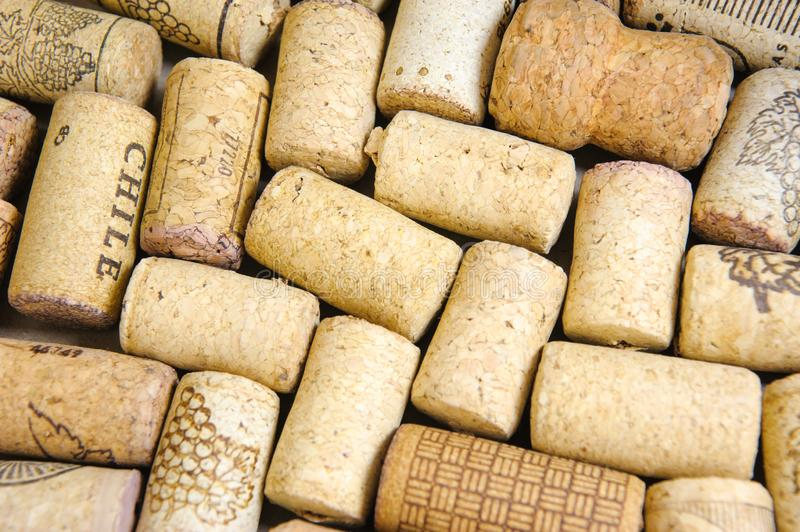 Wine Stoppers Pattern. A close-up of many different wine stoppers made of natural cork in a pattern royalty free stock photo