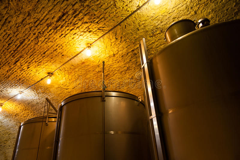 Wine Tanks in an Old Winery royalty free stock photography