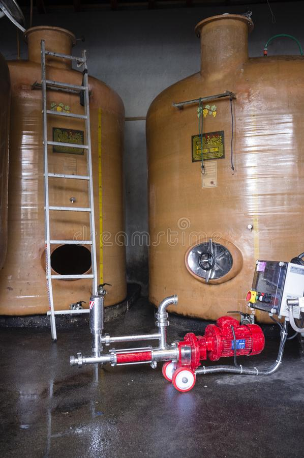 Wine tanks in a wine production facility, Apremont, Savoy, Franc royalty free stock photography