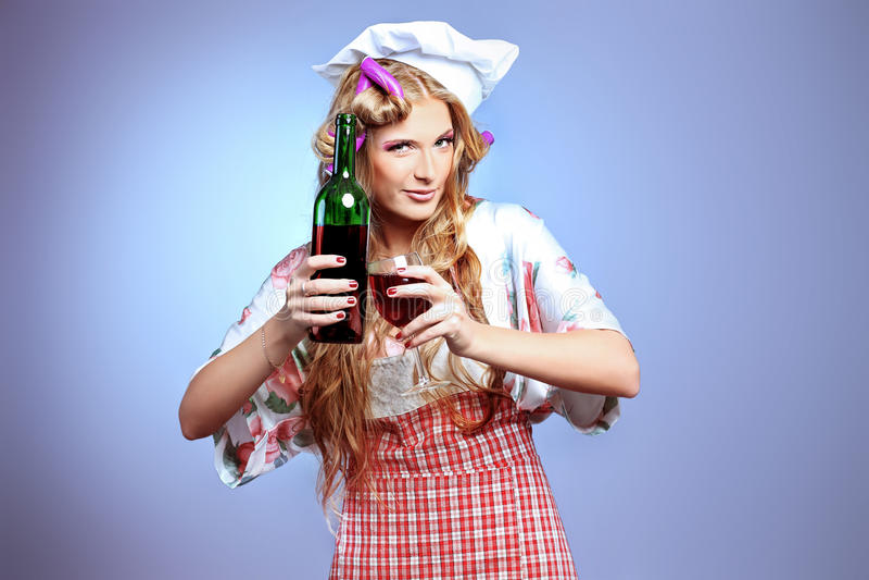 Download Wine taste stock image. Image of girl, curlers, blonde - 18996257