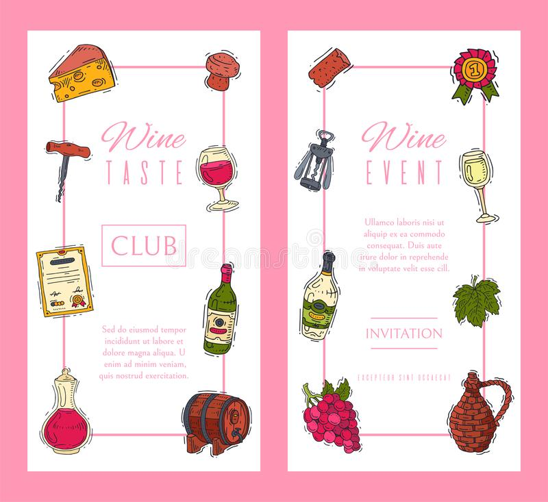 Wine taste club banner vector illustrations glass wine grape bottle. Tasting events menu. Vector alcohol drink. Wine taste club banner vector illustrations glass stock illustration