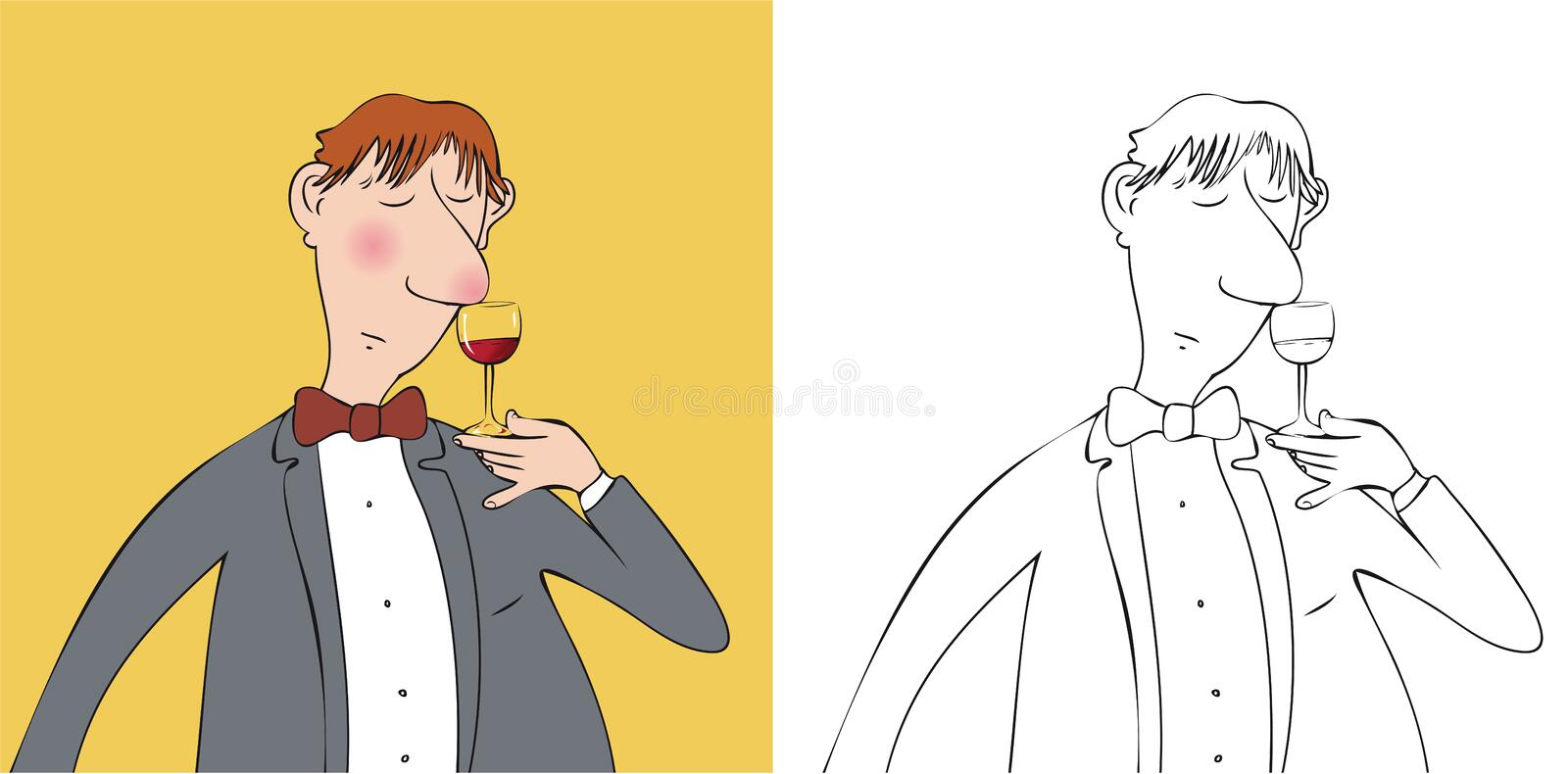 Wine taster. Man smelling and holding glass of wine vector illustration