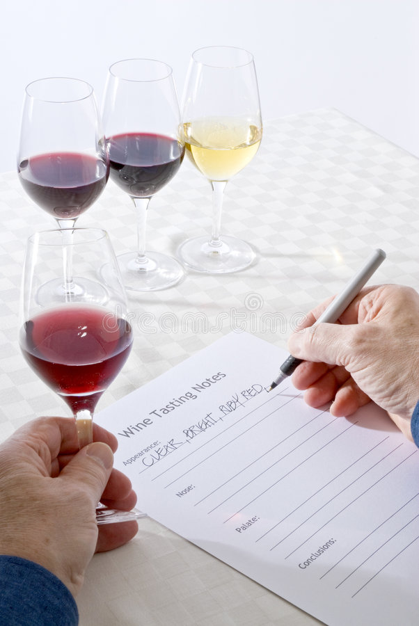 Wine Tasting. A wine taster holding a glass of red wine in the one hand and writing down notes with the other hand royalty free stock images