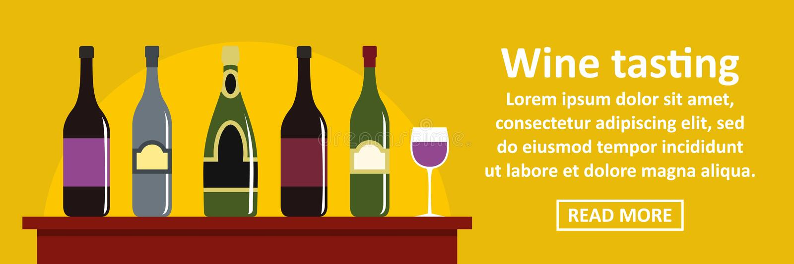 Wine tasting banner horizontal concept vector illustration