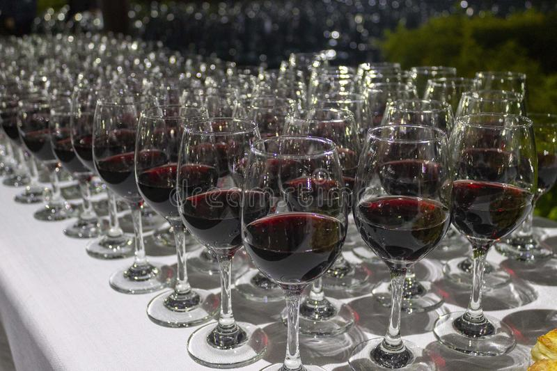 Wine tasting event at night royalty free stock images