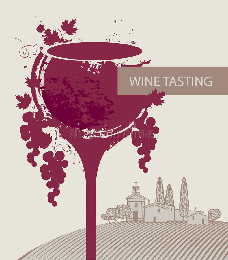 Wine tasting menu with glass, grapes and landscape vector illustration