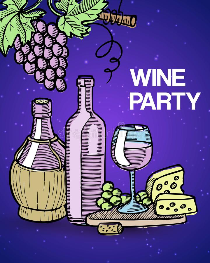 Wine tasting party vector illustration with vintage sketch glass and old bottles of wine, grapes and cheese. Degustation royalty free illustration