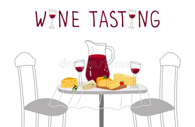 Wine tasting poster. Red wine, cheese vector illustration. Craft drinks and farm cheeses tasting royalty free illustration