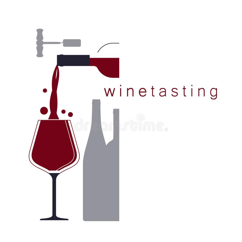 Wine tasting. Pouring wine. Vector illustration. royalty free stock photography