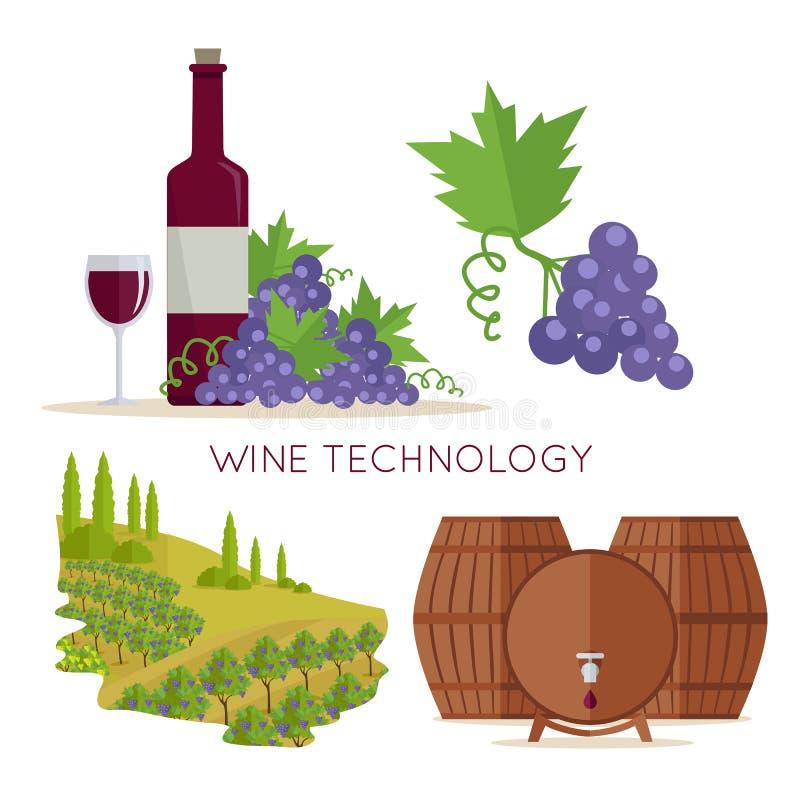 Wine Technology. Bottle of Vine, Beaker, Vineyard. Wine technology icon set. Bottle of wine, beaker, vineyard, wooden barrels. Vinification enology. Check elite vector illustration