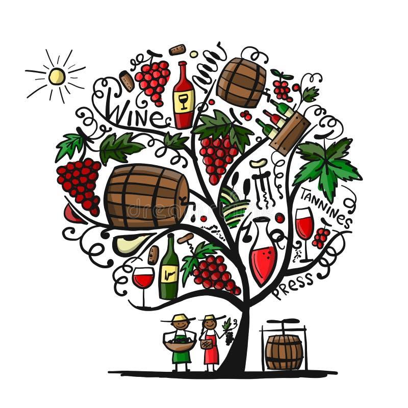 Wine tree, sketch for your design. Vector illustration royalty free illustration