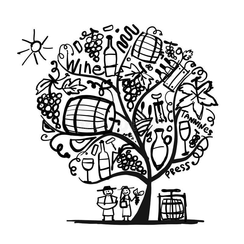 Wine tree, sketch for your design. Vector illustration stock illustration