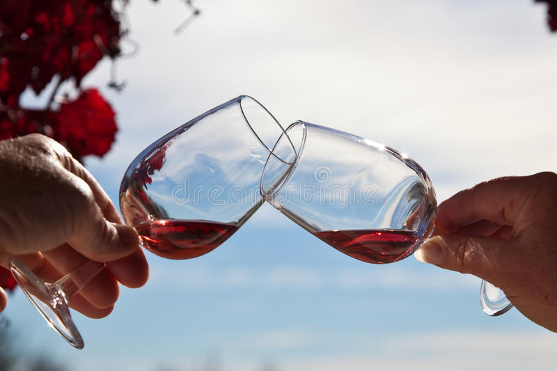 Wine tasting. Riebeek kasteel, South Africa. Two wine glasses with red wine for wine tasting. Riebeek kasteel, South Africa stock photo