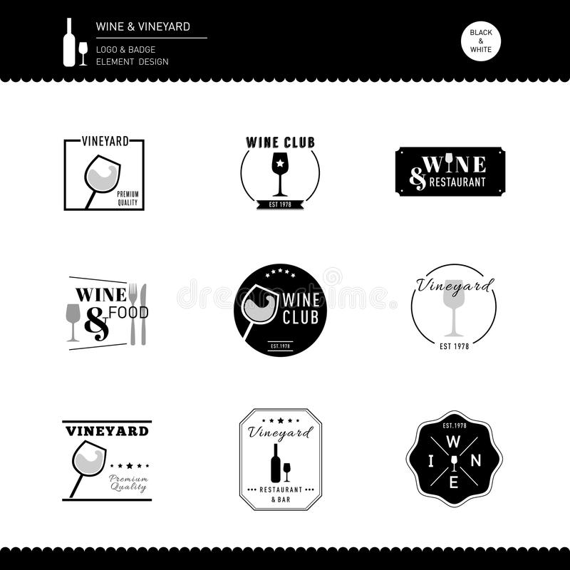 Wine Vineyard logo Design Bar restaurant modern style element royalty free stock images
