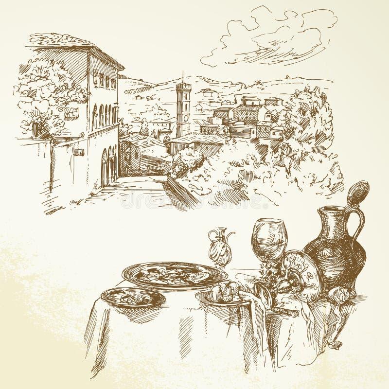 Tuscany, wine. Wine, vineyard, Tuscany - hand drawn collection