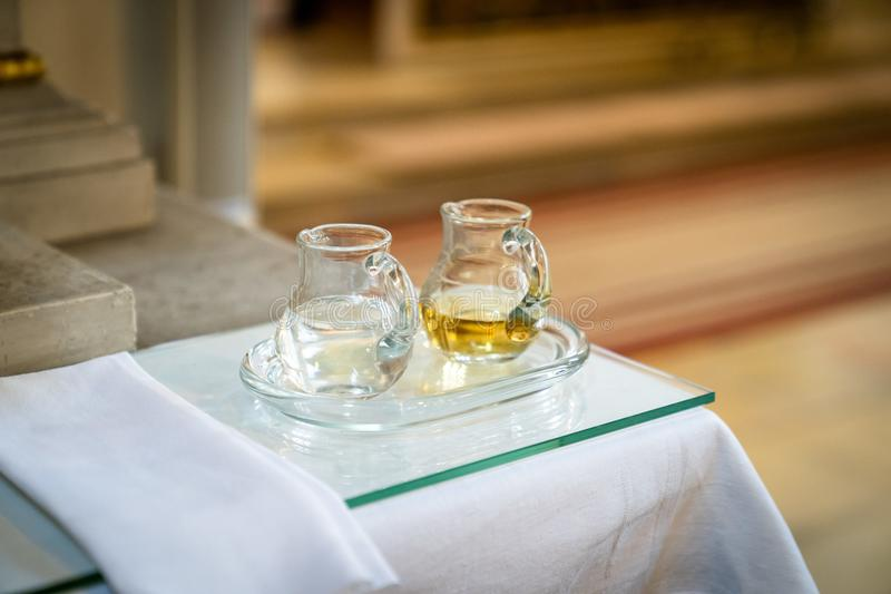Wine and water in the fair. Church giving, father of ours and prayer, prayer, prayers, profession of faith, preaching, gospel, haleluja, reading stock photos