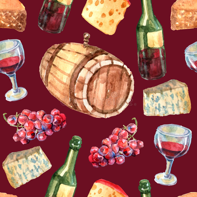 Wine Watercolor Seamless Pattern. With cheese grapes bottles and glass vector illustration vector illustration