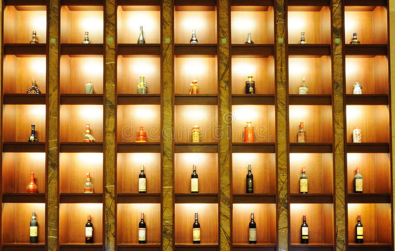 Wine , whisky, chinese liquor in the shelf stock photography