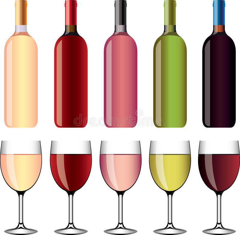 Wine and wineglasses photo-realistic set. Wine and wineglasses photo-realistic detailed set vector illustration