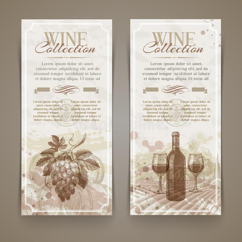 Wine and winemaking - grunge vintage banners vector illustration
