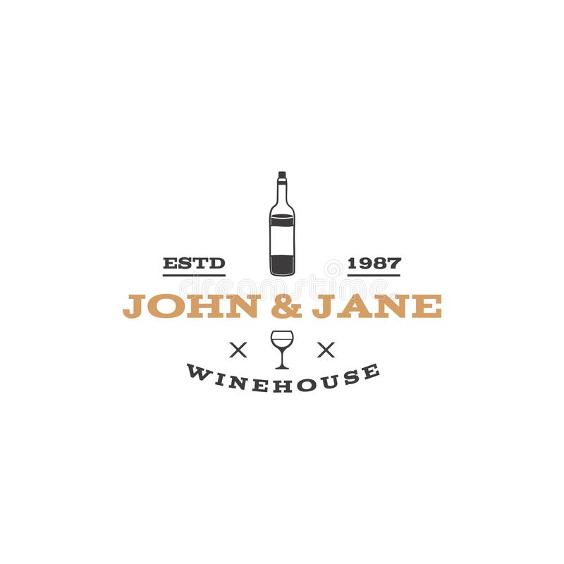 Wine, winery logo template. Winehouse logotype. Vine bottle icon and typography design. Winery, premium quality sign stock illustration