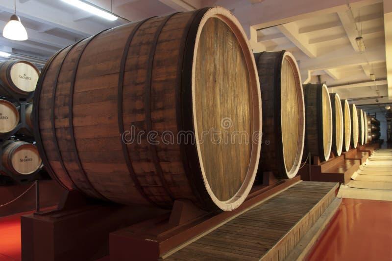 Wine wooden oak barrels photo - Shabo, Odessa region, Ukraine, June 20, 2017 stock image