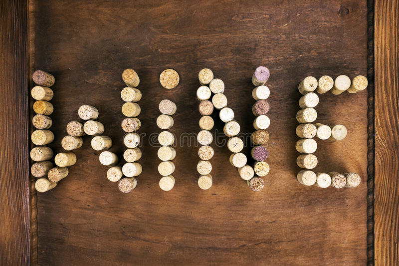 Wine written with corks royalty free stock photos